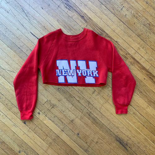 NY Bold Letterman Cropped Crewneck
