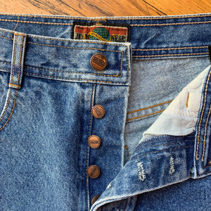 Structure Button Fly Washed Denim Jeans
