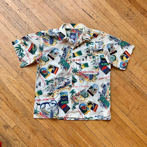 Florida Stamps All Over Print SS Button Down