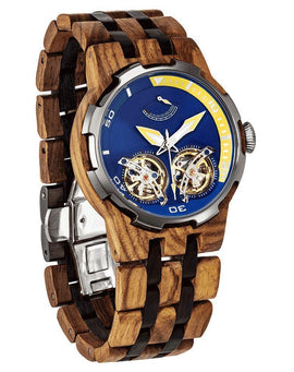 Men's Dual Wheel Automatic Ambila Wood Watch - 2019 Most Popular Wilds Wood
