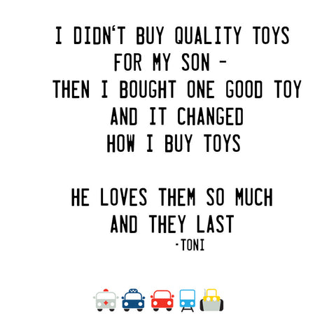 testimonial - quality toys lucas loves cars