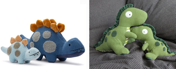 Daddy dino and Dodger soft toys at Lucas loves cars