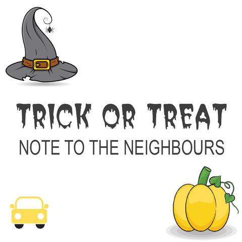 HALLOWEEN NOTE for the neighbours | Halloween printable | Lucas loves cars