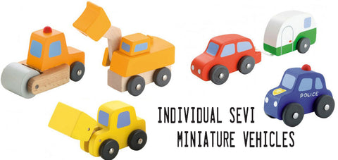 Sevi miniature wooden cars