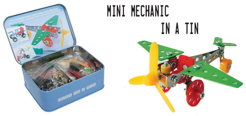 Mini Mechanic in a tin planes and cars craft