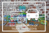 Lucas loves cars 5th Birthday HUGE Tiger Tribe Giveaway - Worth $505