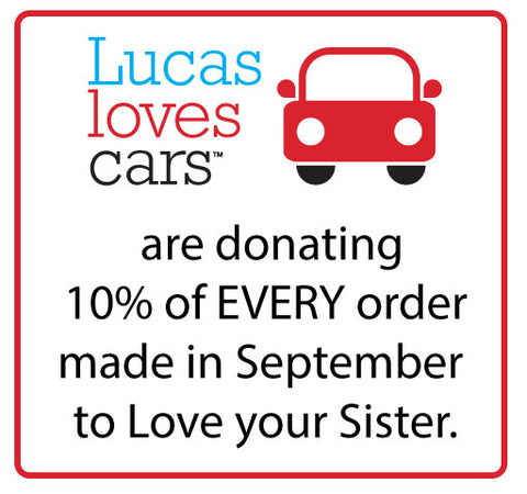 Lucas loves cars donating to Love your sister