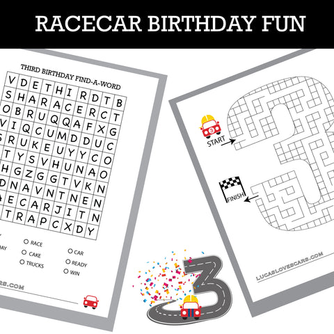 printable maze and find a word racecar fun