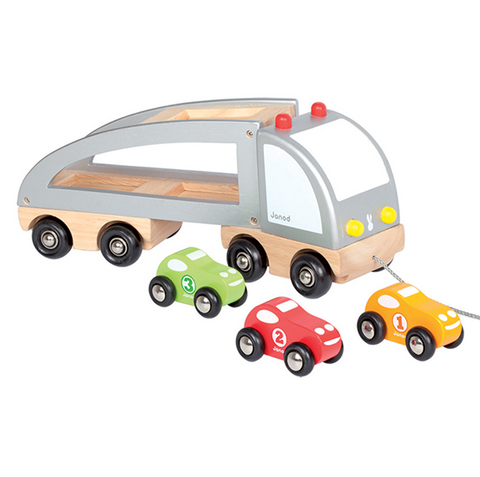Wooden Car Transporter Truck | Janod wooden toys |  Lucas loves cars