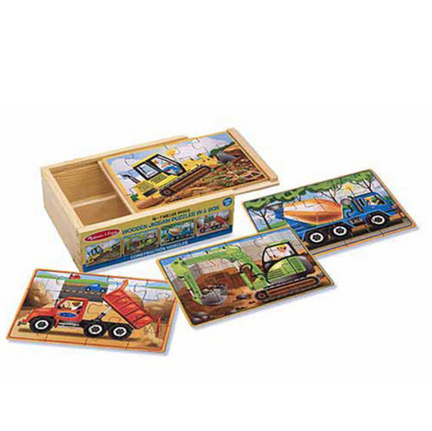4 Construction Jigsaw puzzles in a box | Melissa and Doug |  Lucas loves cars