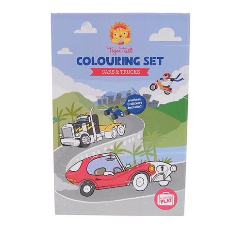 Tiger Tribe colouring Set | Cars and Trucks Colour in book | Tiger Tribe | Lucas loves cars