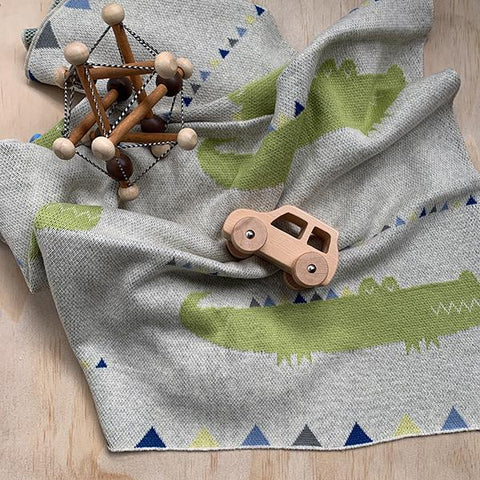 Crocodile cotton baby blanket | Indus blanket | Lucas loves cars