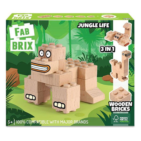 FabBrix Jungle Life | wooden toys | Wooden building bricks | lucas loves cars