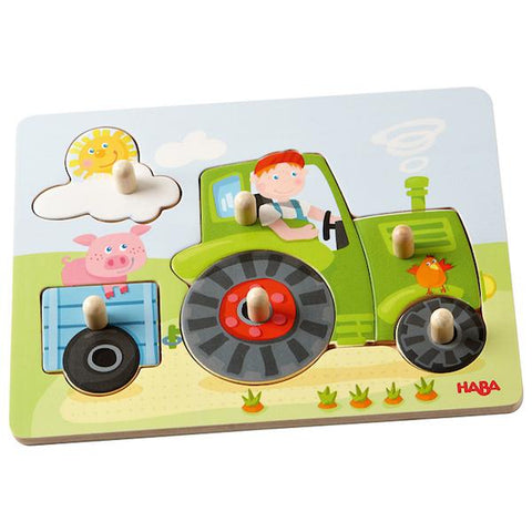 Wooden tractor peg puzzle | HABA toys | Lucas loves cars