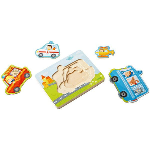 HABA toys | Wooden Layer emergency puzzle | Lucas loves cars