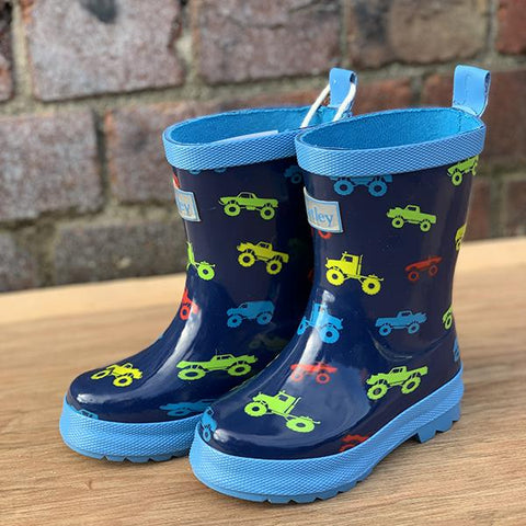 Hatley kids gumboots | Monster truck gumboots  | Lucas loves cars