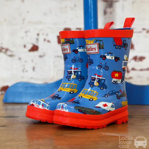 Hatley gumboots |  Rush Hour vehicles |  Lucas loves cars