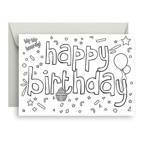 Cards - Colour me in - Happy Birthday | Sprout and Sparrow |  Lucas loves cars