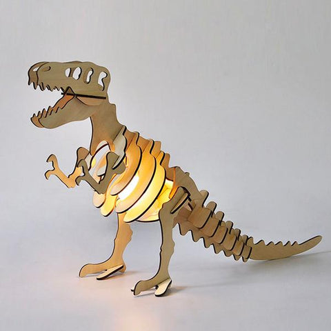Wooden t-rex dinosaur table light | Lucas loves cars