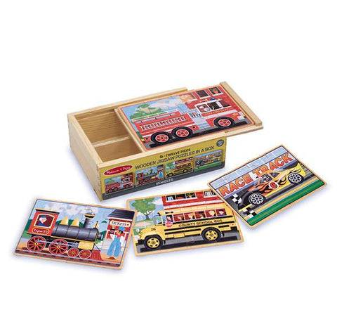 4 Vehicles Jigsaw puzzles in a box | Melissa & Doug |  Lucas loves cars