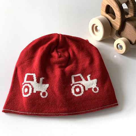 Kids tractor beanie | merino wool baby clothes | Lucas loves cars