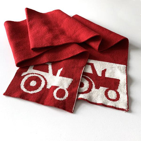Merino tractor scarf  | Red tractor | Lucas loves cars