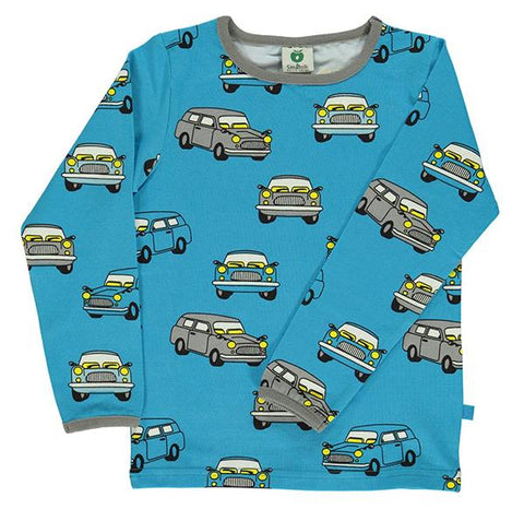 Smafolk organic cotton long sleeve top | Blue with cars | Lucas loves cars