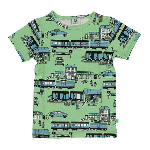 Smafolk | organic cotton tshirt |  Smafolk Train green | Lucas loves cars