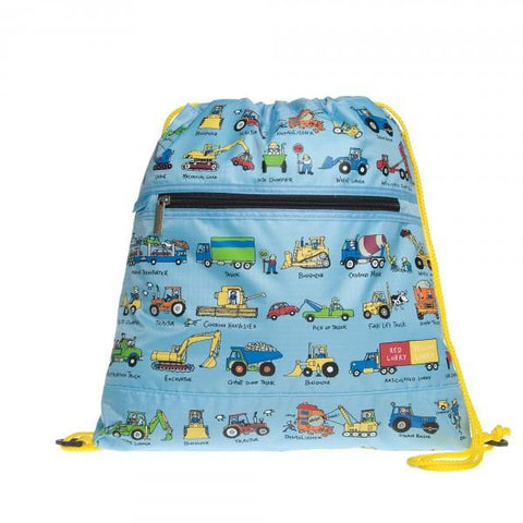 Swimming bag with trucks and cars design