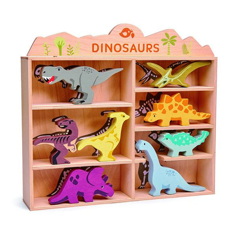 Tender Leaf Wooden Dinosaur Shelf Set