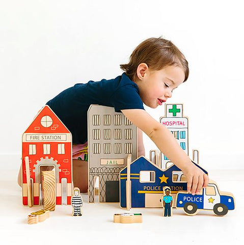 Emergency Cars and Town  | Freckled Frog wooden toys | Lucas loves cars