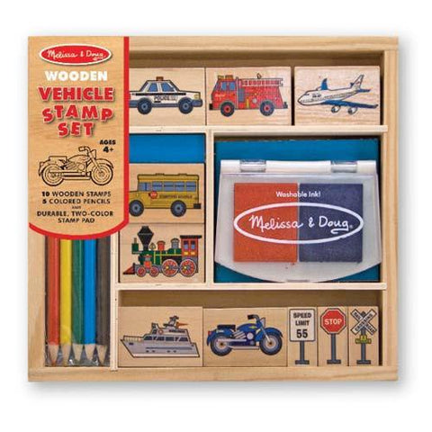 Melissa and Doug |  vehicle stamp set | Lucas loves cars
