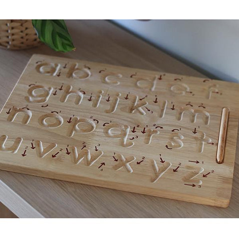 alphabet lower case wooden writing tray | educational toys | Lucas loves cars