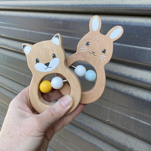 Wooden teether  | Wooden bunny teether | baby gift | Lucas loves cars