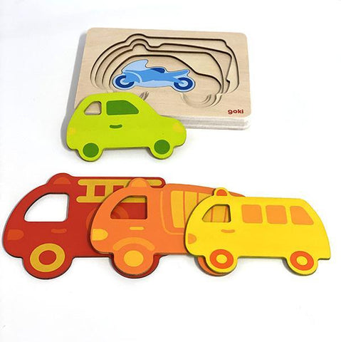 Goki | Wooden toys  | Vehicles layer puzzle  | Lucas loves cars