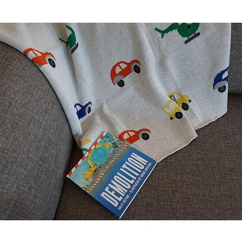 car truck baby blanket | Lucas loves cars