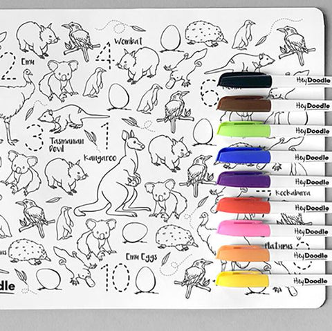 Hey Doodle  | Colour in Placemats | Australian Animals | Aussie kids gift | Lucas loves cars