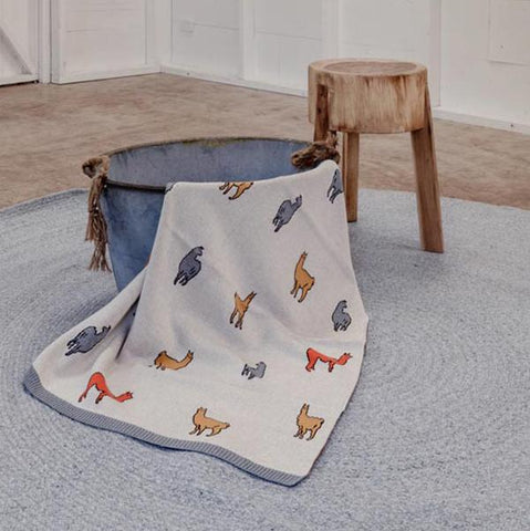 Cotton baby blanket llama | indus | Lucas loves cars