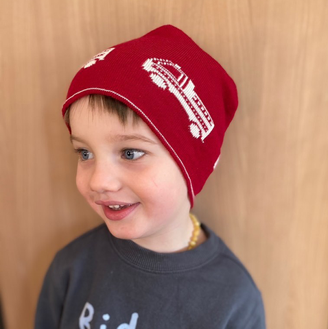 Merino Wool Kids Beanie | Fire trucks beanie | Australian made| Lucas loves cars