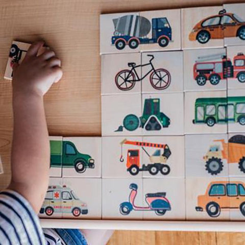 Five Little Bears  | Workers and Wheels Double Sided Puzzle | Australian made  | Lucas loves cars