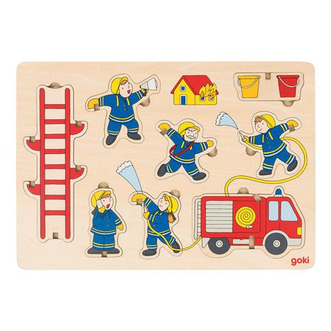 Fire station wooden puzzle  | Goki wooden toys | Firefighter toys | Lucas loves cars
