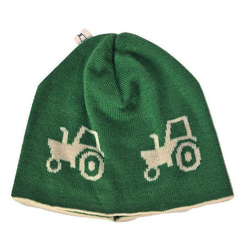 Kids Beanie | Australian Made | Green Tractor | Lucas loves cars