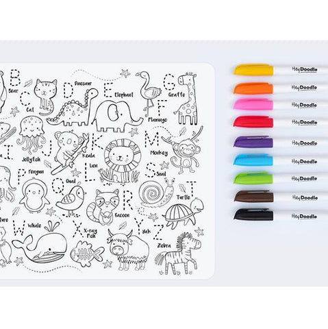 HeyDoodle Into the Wild | Kids Placemats | Jungle placemat | Lucas loves cars