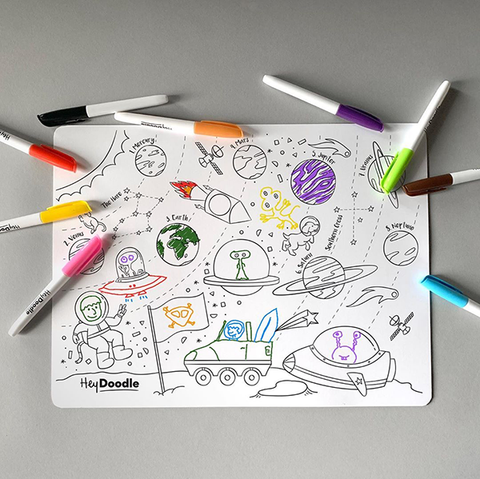 Hey Doodle Space placemat | Space toy | Kids placemats | Lucas loves cars