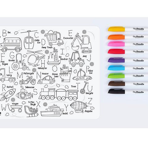 Hey Doodle Toot Toot Honk | Reusable colour in placemat | Hey Doodle | Lucas loves cars