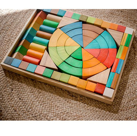 Natural Wood Blocks Rainbow