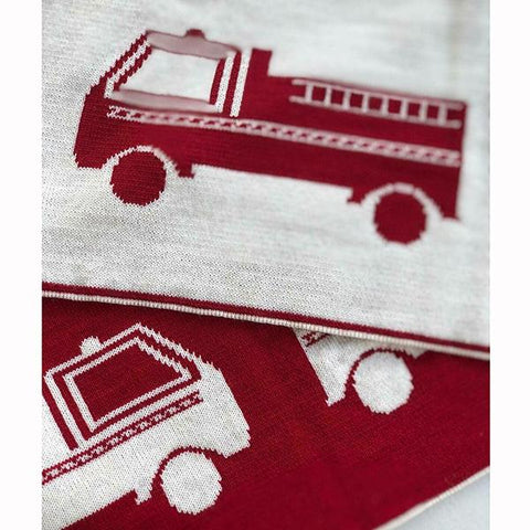 Merino Wool Blanket Fire truck | Fire truck blanket | Leroy Mac | Australian made | Lucas loves cars