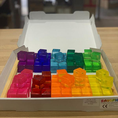 Bauspiel Australia | Lucite Cubes | Coloured block set | Lucas loves cars