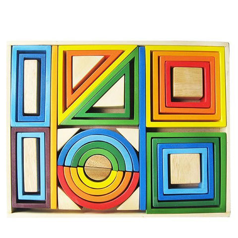Rainbow wooden blocks | montessori toys | Qtoys | Lucas loves cars