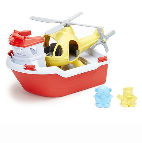 Green Toys - Rescue boat with Helicopter | Green Toys |  Lucas loves cars
